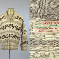50s Cowichan Indian Sweater Northwestern Native Cowichan Hand Knit Sweater