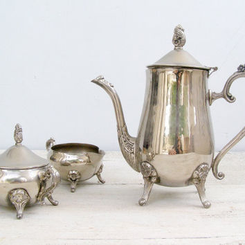 3 Piece Mid Century Tea Set, Coffee set, Retro Silver plated serving set, Art Nouveau Classic dining room set, Hosting, Wedding, Holidays