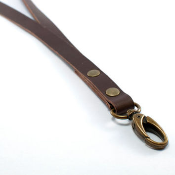 Leather lanyard, brown leather key chain holder, key lanyard, ID lanyard, ID badge holder lanyard, leather anniversary gift