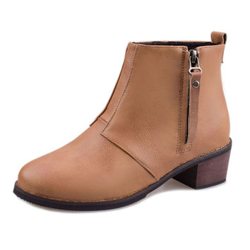 New Thick heel Autumn And Winter Vintage Fashion Ankle Boots