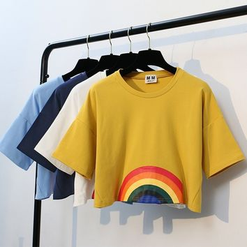 Kawaii Rainbow Print Crop tops Tees Short Sleeve T-Shirts