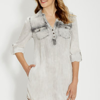 chambray shirtdress in gray wash | maurices
