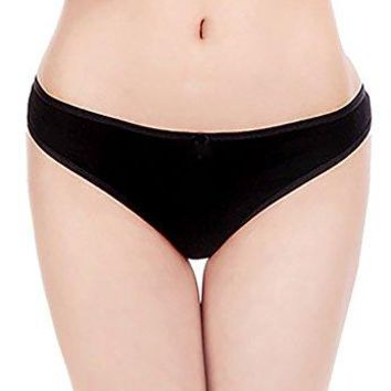 Abclothing Women's 6 Pack Cotton Seamless Thong Underwear Vary Color Black