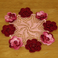 Red and Pink 3D Roses Doily - 8 Red and Pink Multi-Layer Crocheted Roses on Pink Whirl - Small Floral Lace Decor