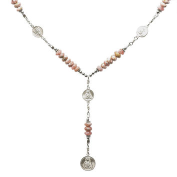 Sterling Silver 7 Sorrows Rosary 6mm Rhodochrosite Necklace with 7 Sorrows Medal Set
