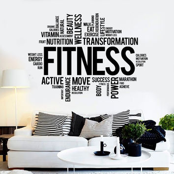Vinyl Wall Decal Fitness Word Cloud Healthy lifestyle Gym Motivation Stickers ig3825