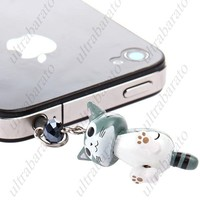 Wooden Universal 3.5mm Earphones Anti-Dust Plug Ear Cap Headset Hole Stopper with Chi' Sweet Cat Ornament for Phone
