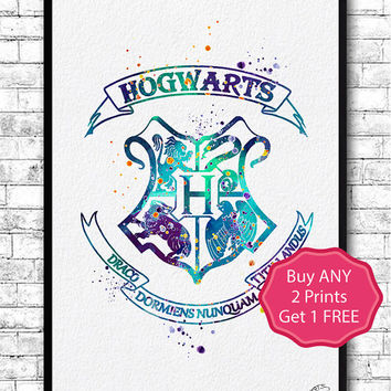 Hogwarts Crest 3 Watercolor Print Harry Potter Fine Art Print Nursery Gift Home Decor Wizard Nursery Kids Room Blue Hogwarts Crest Poster