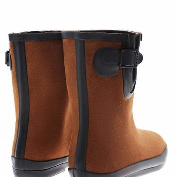 Buckle Detail Brown Welly Boots