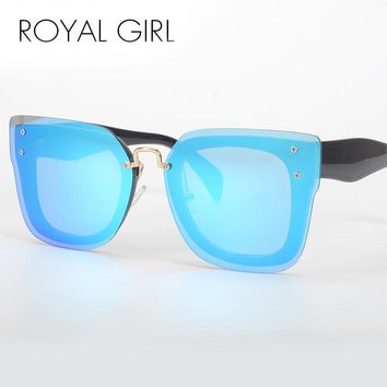 Royal Girl Designer Coating Glasses Big Rimless Frame Mirror