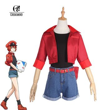 ROLECOS Anime Hataraku Saibou AE3803 Cosplay Costumes Erythrocytes Cosplay  Costume Cells At Work Cosplay Women Suit Uniforms