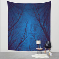 I Have Loved the Stars too Fondly (Night Trees Silhouette Abstract 2) Wall Tapestry by Soaring Anchor Designs