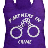 Shirts By Sarah Women's Partners In Crime Handcuffs Burnout Best Friend Tank Top