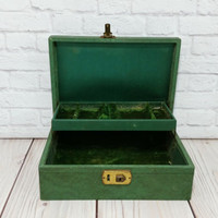 Vintage Green Jewelry Box With Green Velvet Interior Great For Jewelry Storage and Display