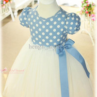 New Summer Girls Baby Dresses Small Dots Kids' Party Dress Short Sleeve Dresses Children Clothing