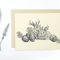 5 Jackalope Easter Cards: Blank inside, jackalope and Easter egg carrots, whimsical rustic holiday card set