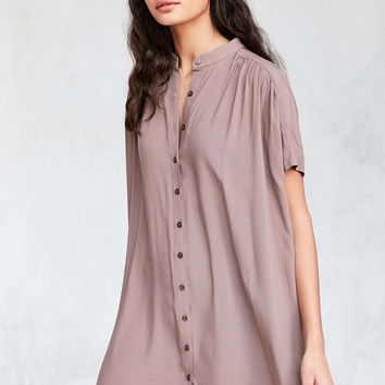 BDG Shirred Button-Down Shirt Mini Dress - Urban Outfitters