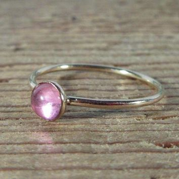ICIKHNW Stacking Ring Gold Pink Saphire Gemstone