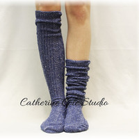 "New Nordic Denim Tweed Basic tall knee socks Must Have for all boot styles ""Alpine Collection"" MADE IN AMERICA  Catherine Cole Studio BKS0"