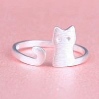 Caxybb Silver Ring Design Cute Fashion Jewelry Cat Ring For Women Young Girl Child Gifts Adjustable Anel Wholesale-in Rings from Jewelry & Accessories on Aliexpress.com | Alibaba Group