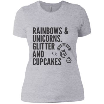 Rainbows & Unicorns, Glitters And Cupcakes Ladies' Boyfriend T-Shirt