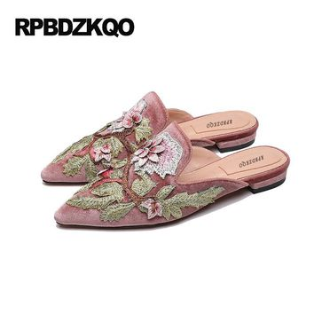 Pointed Toe Mules Embroidery Pink Large Size Beautiful Flower Comfy Chinese Embroidered Shoes 9 Floral Velvet Slippers Women