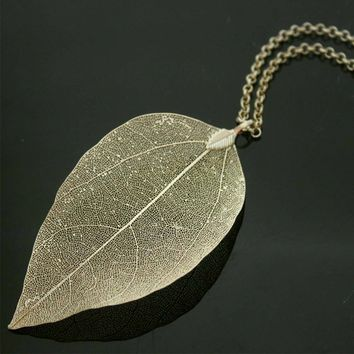 Real Leaf Necklace Gold-color Natural Leaf Pendant Necklace for Women Vintage Long Chain Maxi Necklace Jewelry Boho Chic bijoux
