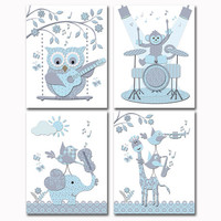 Blue grey music nursery art baby boy room wall decor toddler artwork shower decoration gift elephant owl giraffe guitar violin drums poster