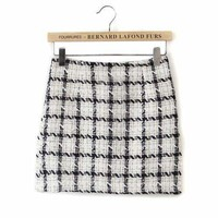 Black Plaid Pencil Mini Skirt