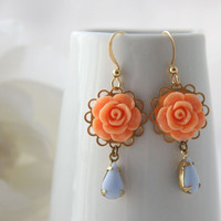 Coral chandelier earrings. Flower chandelier earrings. Spring flower earrings. Feria