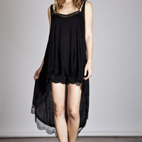 Umgee U.S.A Solid High Low Tank with Lace Trim
