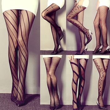bd3f18573f158 Amazing Spring Summer Women Tights Black Sexy Tattooed Stockings