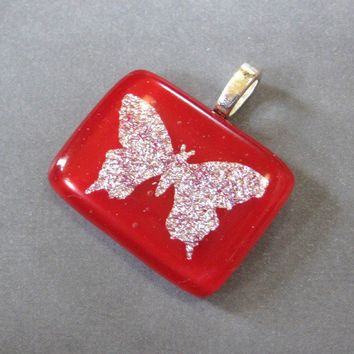 Sky Dancer Silver Butterfly Pendant Red Fused by mysassyglass