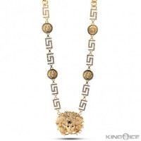 Gold Medusa CZ Greek Key Medallion Necklace | Hip Hop Jewelry | Urban Style Necklace