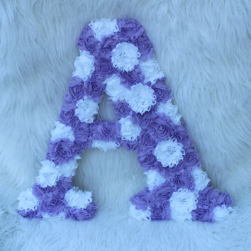 "purple and white shabby chic 18"" letter girls baby nursery room letters A shabby chic wedding letter A purple lavender white wooden letter"