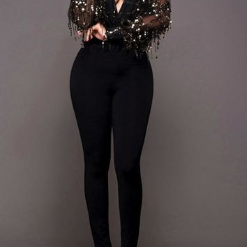 Black Patchwork Sequin Tassel Grenadine 2-in-1 Long Jumpsuit