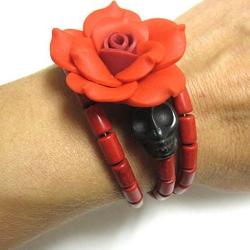 Red Black Sugar Skull Bracelet Day Of The Dead Jewelry Wrap Rose Cuff
