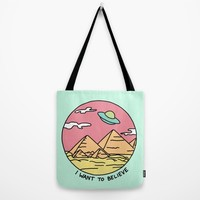 Ancient Aliens Pyramids Funny UFO Eyptian 90s Print Tote Bag by BigKidult | Society6