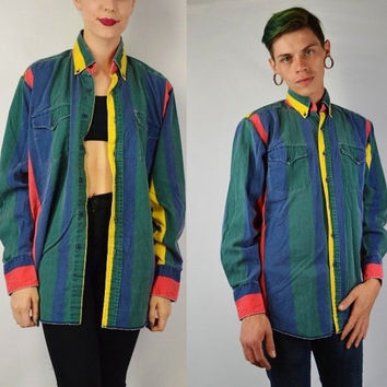 90s Striped Shirt MEN Medium Large Soft Grunge Hipster Vertical Vintage Mens C