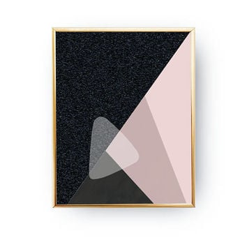 Geometric Triangles, Pastel Decor, Pink Black Art, Minimalist Poster, Textured Wall Art, Abstract Shapes, Simple Decor, Mid Century Decor