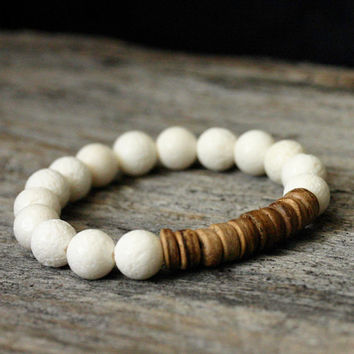 Coral Coconut Stacking Bracelet / Pure White Toffee by byjodi