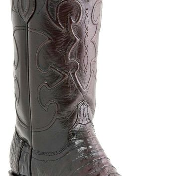 "Lucchese Since 1883 Mens Western with ""Milano"" Cord Design Black Cherry Belly Crocodile M1637"