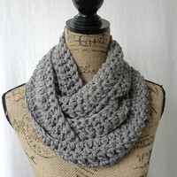 Ready To Ship Medium Gray Grey Cowl Scarf Fall Winter Women's Accessory Infinity