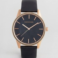UNKNOWN Classic Leather Watch In Black & Rose Gold at asos.com