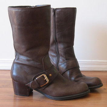 vintage 90s Boots / NINE WEST Leather Buckle / Harness Boots / Wood Stacked Heel / Brown
