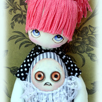 Lucilla handmade black and white gothic/emo cloth doll with pink skulls and Grumpie monster friend OOAK