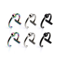 Stainless Steel Fake Nose Rings Hoop For Women Rhodium/Black/Colourful Nose Rings And Studs Body Piercing Jewelry F3715