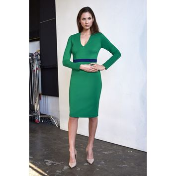 Green V-Neck Long Sleeve Cocktail Dress