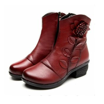Women Vintage Handmade Flower Genuine Leather Ankle Boots Mid Square Heels Casual Shoe
