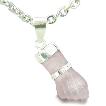 Figa Hand Rose Quartz Love Powers Amulet Italian Charm Pendant 22 Inch Necklace